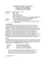 Chemistry 230-001, Spring 2011 Organic Chemistry Course Description and Syllabus