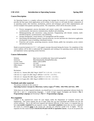 Introduction to Operating Systems Spring 2010 Course Description