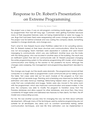 Response to Dr. Robert's Presentation on Extreme Programming