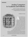 Analog Computers in Academia and Industry