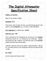 The Digital Attenuator Specification Sheet
