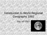 Introduction to World Regional Geography 1982