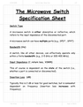The Microwave Switch Specification Sheet