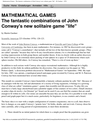 MATHEMATICAL GAMES The fantastic combinations of John Conway's new solitaire game life