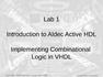 Lab 1 Introduction to Aldec Active HDL