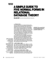 A simple guide to five normal forms in relational database theory.William Kent