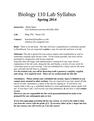 Biology 110 Lab SyllabusS14revised