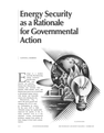 Energy Security as a Rationale for Governmental Action