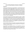 Factors Affecting Phosphorus Retention in Sediments